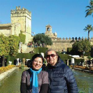 María Guadalupe García Cardiell and husband Guillermo García Santín smile in Spain.