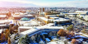 An aerial photo of BYU campus in the winter.
