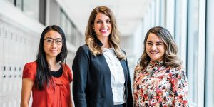A portrait of BYU's newest full-time mental-health counselors Hiu Wai Yoko Caldwell, Corinne Hannan, and Ofa Hafoka-Kanuch.