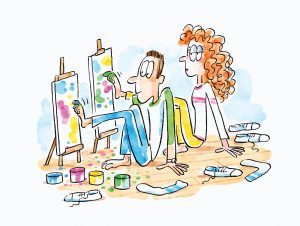 A cartoon depicting a date where two students are seated on the floor and are painting colorful patterns on canvasses with their toes.