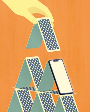 An illustration of someone a pyramid with a deck of cards. One of the cards looks like a smartphone.