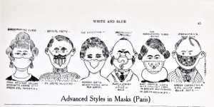 A cartoon from early 1919 in BYU's student newspaper showing various styles of medical masks to fight the 1918 flu. The caption reads,