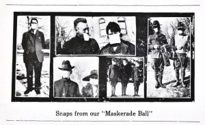 Five pictures of BYU students in 1919 wearing medical masks. The caption reads,