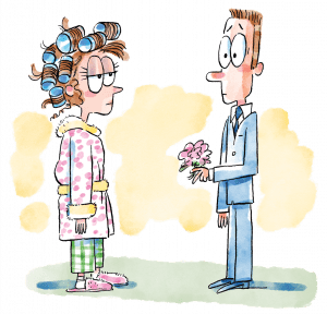 A young woman, hair in curlers and wearing a robe, greets a young man in a powder blue suit holding flowers.