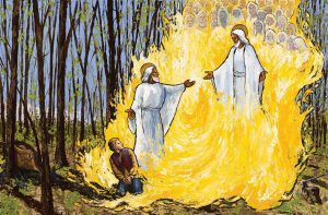 A painting of the First Vision of Joseph Smith, engulfed in spiritual fire as he witnesses God the Father introduce His Son Jesus Christ.