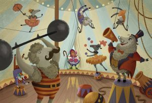 An illustration of Little Bo Peep finding her sheep performing a circus.
