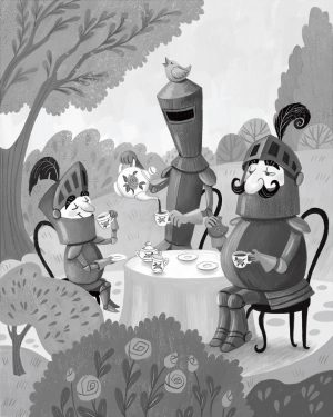 An illustration of 3 knights sitting around a table having a tea party.