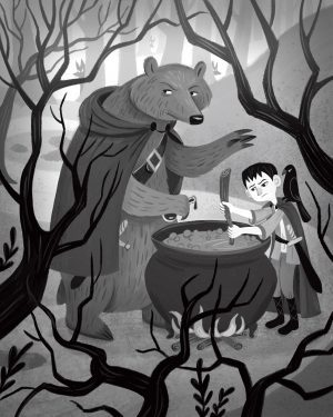 An illustration of a bear wearing a cape and a young boy mixing a cauldron together.