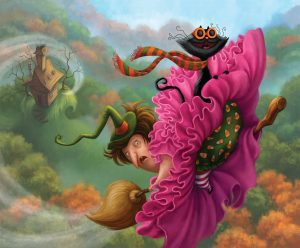 An illustration of a witch flying backwards on a broom.