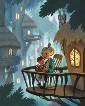 An illustration of a young child sitting on their grandmother's lap as she reads.