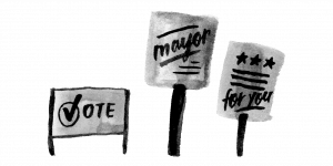 Political signs, reading