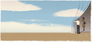 An illustration of a man with a lonely background of blue sky and white clouds. The man pulls back the