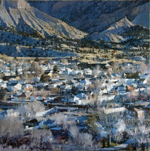 An oil painting of a Utah town that sits below the mountain. At the top half of the canvas, the mountain is a soft yellow-green covered in dark green trees. The houses, mostly white with peaked grey roofs, line the streets surrounded by wispy, dead trees.
