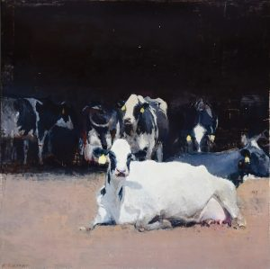 An oil painting of a cow laying on a field with a yellow tag on its ear, in the background are several cows with yellow tags as well.
