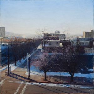 An oil painting of a Salt Lake City street crossing; from a bird's eye view you see a two sidewalks perpendicular, one going up and the other to the right. Two dead trees line the sidewalk going right and an empty parking lot sits behind them, followed by muted-colored buildings behind and a dusky blue sky above.