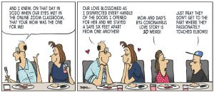 A comic depicting a father, mother, daughter, and son eating together. Father says,