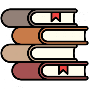 A graphic of a stack of books.