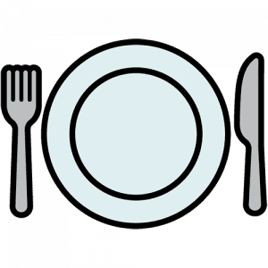 A graphic of a plate, fork, and knife.