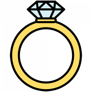 A graphic of a diamond wedding ring.