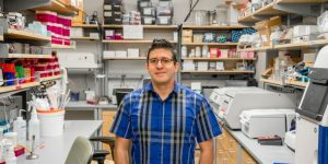 Israel Guerrero standing in his lab.
