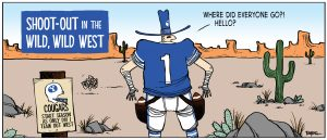 A comic square shows a BYU football player wearing a cowboy hat and holster with a football in each side. The scene is a Southwest landscape with red rock and cactus. Text in the upper left reads
