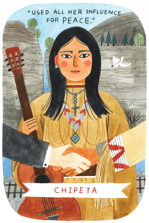 An illustration of Native American Chipeta. The phrase