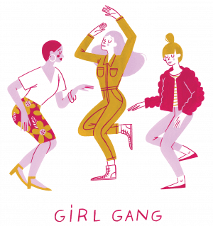 An illustration of three women dancing with the words