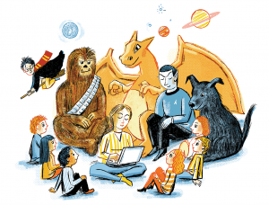 An illustration of online teacher Lauren Ard surrounded by fantasy characters like Chewbacca, Harry Potter, a dragon, and Spock.