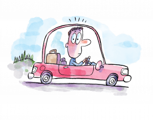 In this cartoon illustration, the driver of a pink car appears wide-eyed and uneasy.