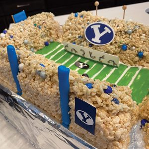 A BYU football stadium created with rice crispy treats and other candy.