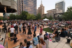 People dance at a big-band event at Salt Lake City's Gallivan Center.