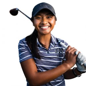 Portrait of BYU golfer Allysha Mateo with a golf club held up at her shoulder.