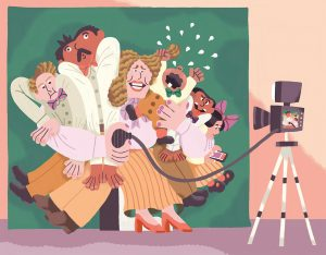 In this whimsical illustration, a distracted family smooshes in to take a family photo.