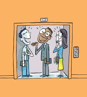 In this cartoon, three BYU students, dressed in Sunday best, laugh together as their elevator's doors open.