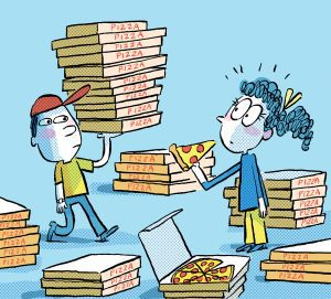 In this cartoon, a pizza delivery guy brings a huge stack of pizzas to a flustered young lady.