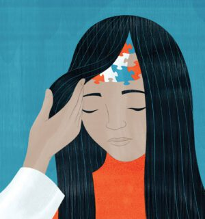 This illustration depicts a young woman with autism. A hand reaching in brushes the subject's hair aside to reveal some colorful puzzle pieces on her forehead.