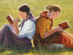 An illustration by Anthony Sweat of two pioneer girls sitting back to back studying scriptures.