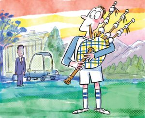 Cartoon illustration of a bagpiper playing on the south end of campus. A man in a dark suit listens from a distance.