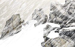 Artwork of a snow covered mountain.